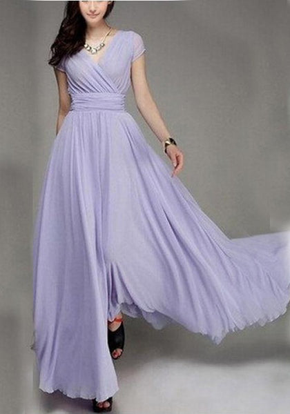 Purple Cross Draped V-neck Ruched Flowy Bohemian Bridesmaid Elegant Banquet Party Maxi Dress