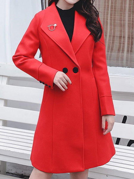 Red Pockets Buttons Turndown Collar Long Sleeve Elegant Wool Coat