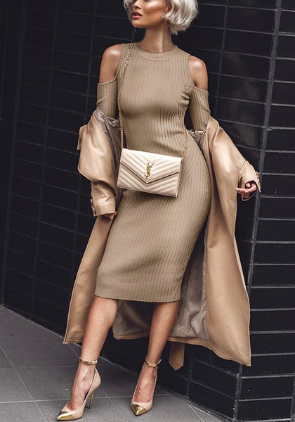 Khaki Cut Out Draped Round Neck Fashion Midi Dress