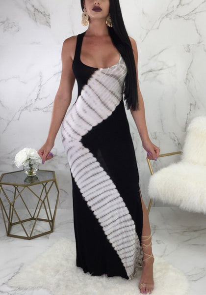 Black Striped Shoulder Strap U-neck Side Slit Party Maxi Dress