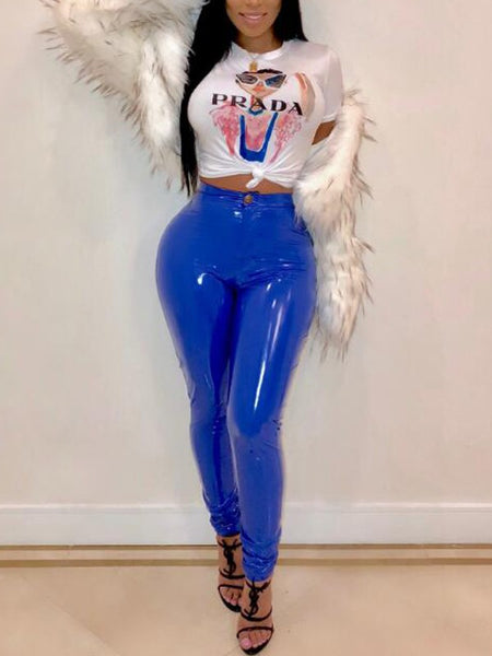 Royal Blue Pu Leather Buttons High Waisted Sparkly Clubwear Party Long Pants