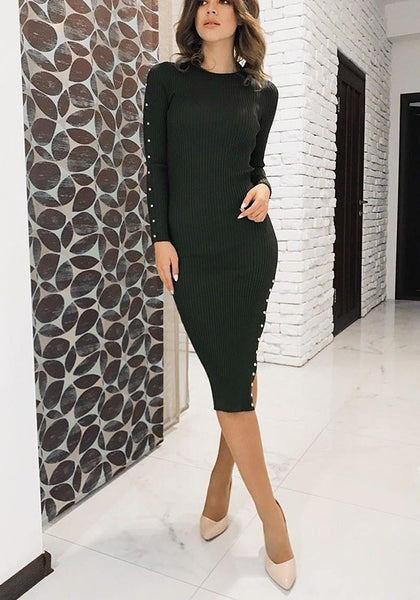 Black Plain Buttons Round Neck Fashion Midi Dress