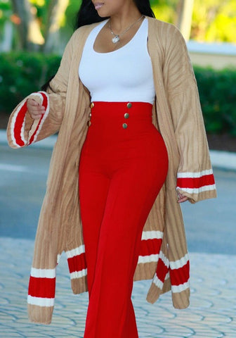Khaki Striped Pockets Side Slit Long Sleeve Casual Cardigan Outerwear