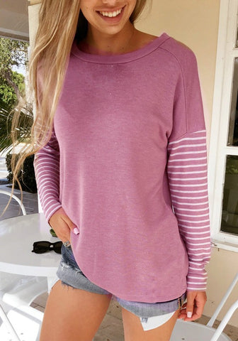 Pink Striped Print Round Neck Long Sleeve Casual Pullover Sweatshirt