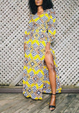Yellow Floral Print Side Slit V-neck Bohemian African Maxi Dress