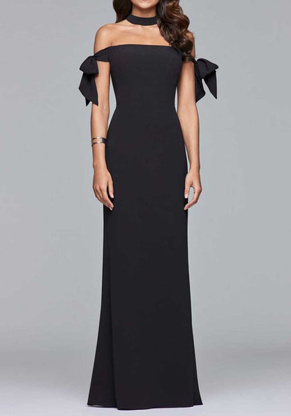 Black Bow Side Slit Off Shoulder Backless Banquet Elegant Party Maxi Dress