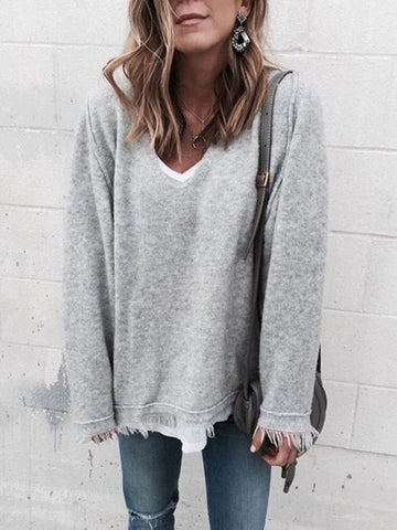 New Grey Patchwork Tassel V-neck Long Sleeve Casual Sweater