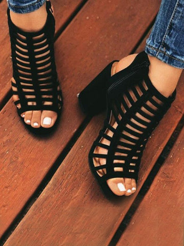 Black Round Toe Chunky Fashion Mid-Heeled Sandals