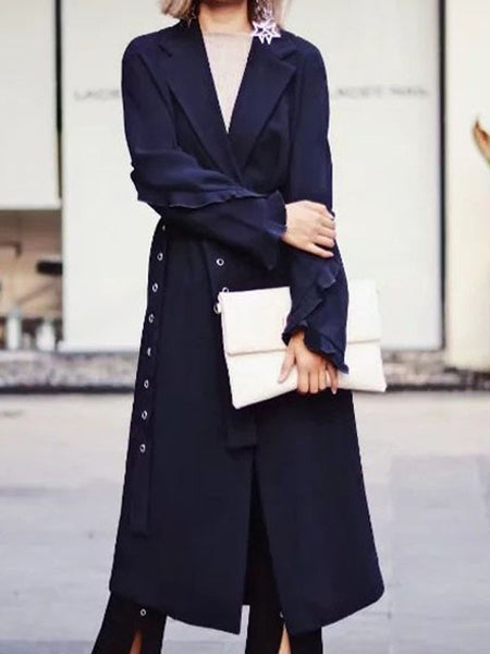 Blue Ruffle Belt multi way Fashion Trench Coat