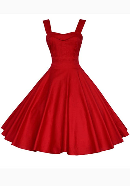Red Pleated Shoulder-Strap Backless Tutu Banquet Hepburn Elegant Party Midi Dress