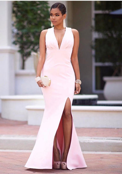 Pink Pleated Zipper Side Slit Mermaid Deep V-neck Party Maxi Dress