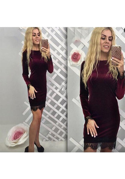 Wine Red Patchwork Lace Round Neck Fashion Midi Dress
