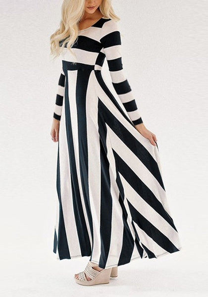 Black-White Striped Print Draped High Waisted Long Sleeve Party Maxi Dress