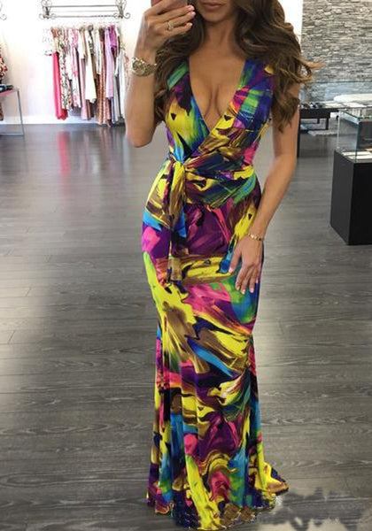 Multicolor Colorful Print Sashes Draped Swallowtail Party Maxi Dress