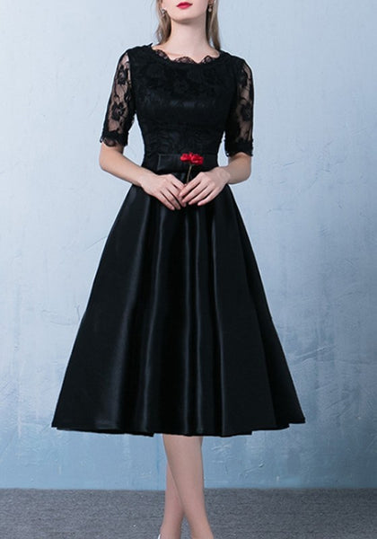 Black Patchwork Lace Bow Pleated Round Neck Midi Dress