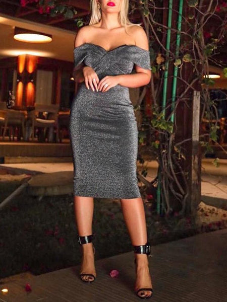 Black Ruffle V-neck Wrap Short Sleeve Bodycon Fashion Party Banqute Midi Dress