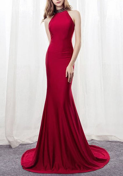 Red Halter Neck Mermaid Big Swing Elegant Banquet Party Maxi Dress
