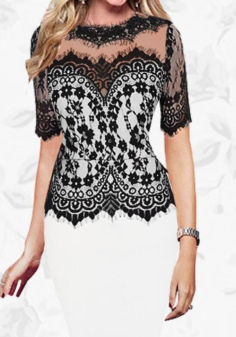 White Patchwork Lace Cocktail See-through Short Sleeve Pencil Bodycon Party Midi Dress