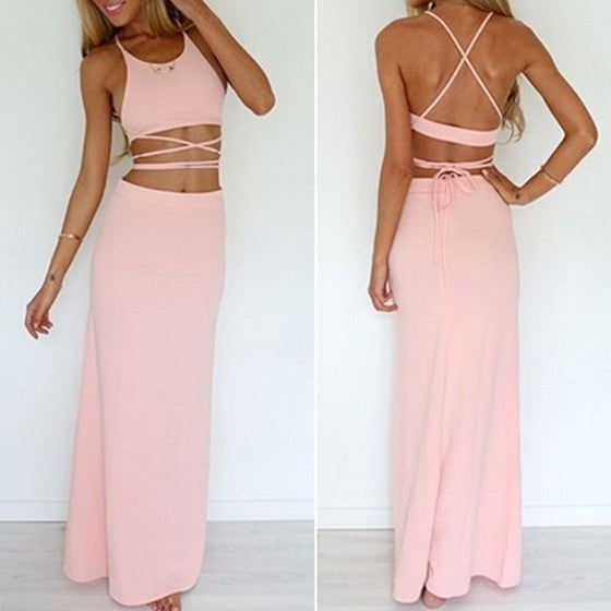 Pink Plain 2-in-1 Tie Back Cross Back Condole Belt Zipper Maxi Dress