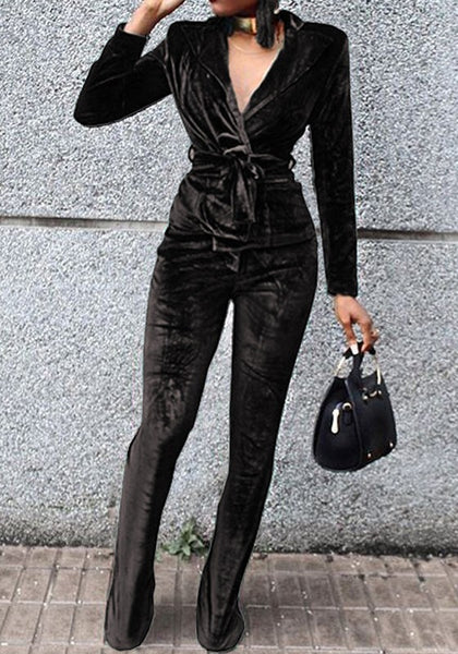Black Plain 2-in-1 Drawstring Waist Casual Long Jumpsuit
