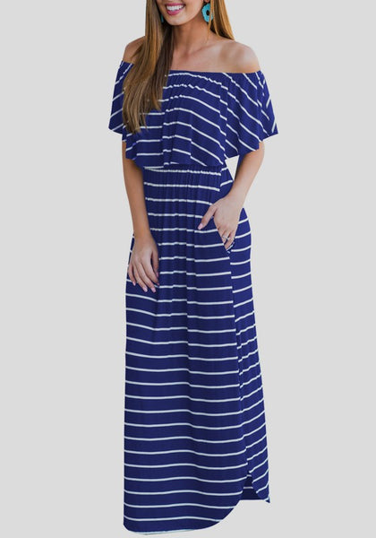 Blue-White Striped Ruffle Off Shoulder Pockets Backless Elegant Homecoming Party Maxi Dress