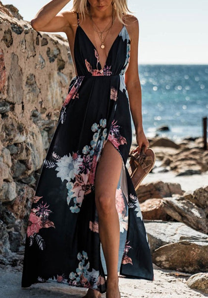 Black Cut Out Condole Belt Plunging Neckline Maxi Dress