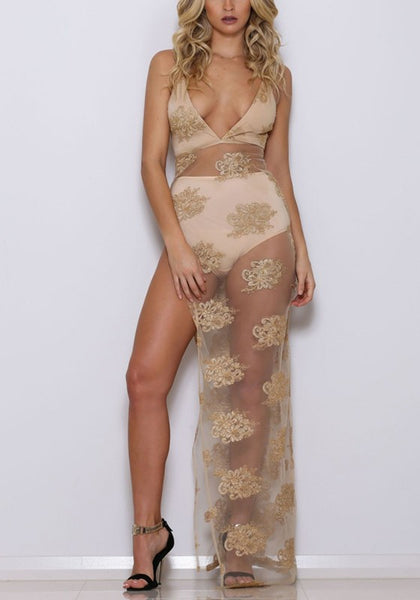 Golden Floral Embroidery Grenadine Side Slit Maxi Dress