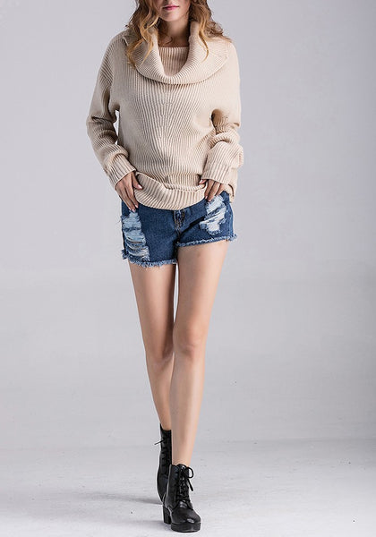 Beige Irregular Ruffle Collar Long Sleeve Pullover Sweater