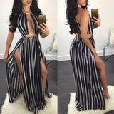 Black-White Striped Hollow-out Tie Back Sleeveless Side Slit Bohemian Maxi Dress