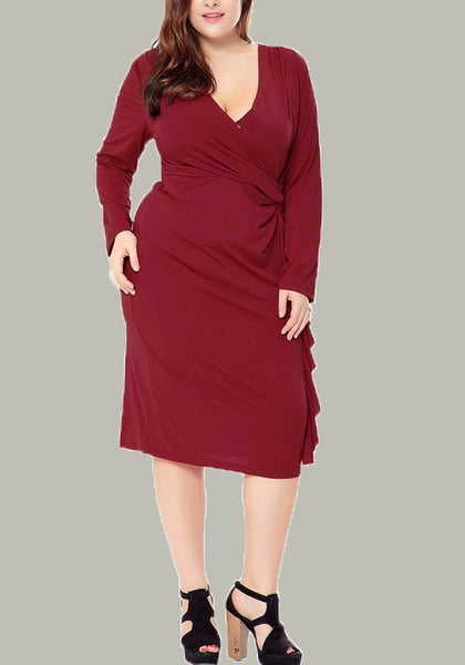 Red Irregular Pleated V-neck Long Sleeve Plus Size Wrap Party Midi Dress