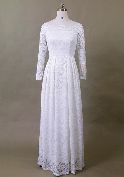 White Patchwork Lace Pleated Long Sleeve Elegant Maxi Dress