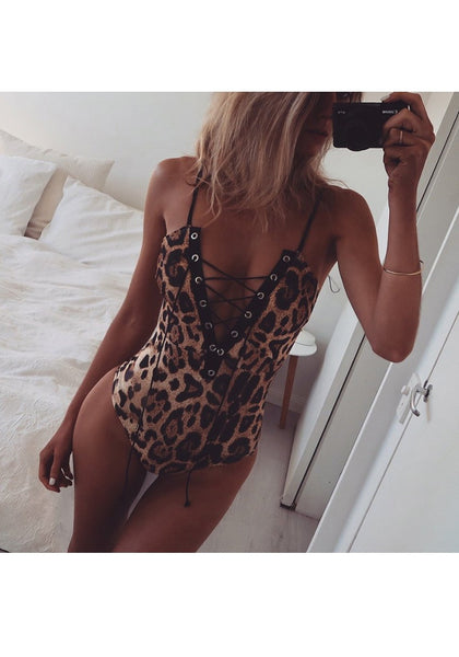 Brown Leopard Spaghetti Strap Drawstringp Backless Lace-up Short Jumpsuit