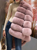 Pink Fuzzy Faux Rabbit Fur Bubble Fur Long Sleeve Outerwear Teddy Coat