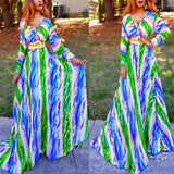 Multicolor Striped Draped Deep V A-line Lantern Sleeve Bohemian Maxi Dress