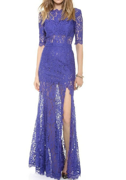 Blue Patchwork Hollow-out Lace Zipper Side Slit Fashion Maxi Dress