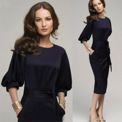 Navy Blue Belt Elbow Sleeve Fashion Midi Dress