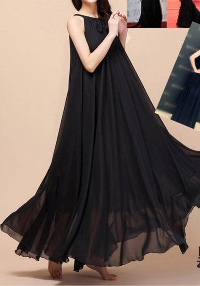 Black Plain Belt Round Neck Bohemian Chiffon Maxi Dress