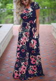 Navy Blue Floral Pockets Ruffle Round Neck Casual Maxi Dress