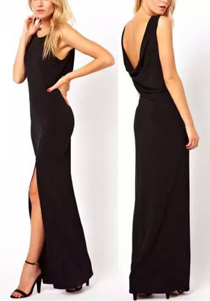 Black Draped Backless Side Slit Round Neck Sleeveless Elegant Party Maxi Dress