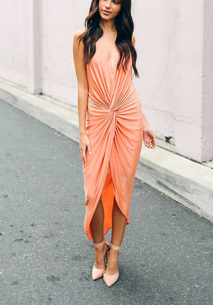 Orange Ruffle Irregular Plunging Neckline Fashion Midi Dress