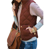 Army Green Patchwork Pockets Zipper Band Collar Casual Vest