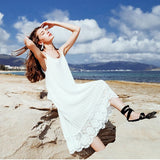 White Patchwork Lace Backless Spaghetti Strap Irregular Round Neck Beach Midi Dress