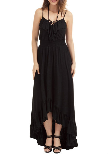 Black Irregular Spaghetti Strap Tie Back Falbala Maxi Dress