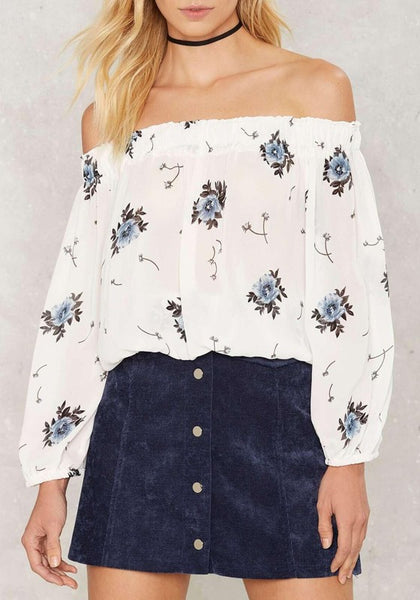 White Floral Print Boat Neck Long Sleeve Casual Blouse