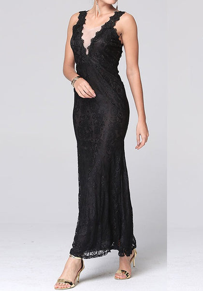 Black Patchwork Lace Plunging Neckline Fashion Maxi Dress