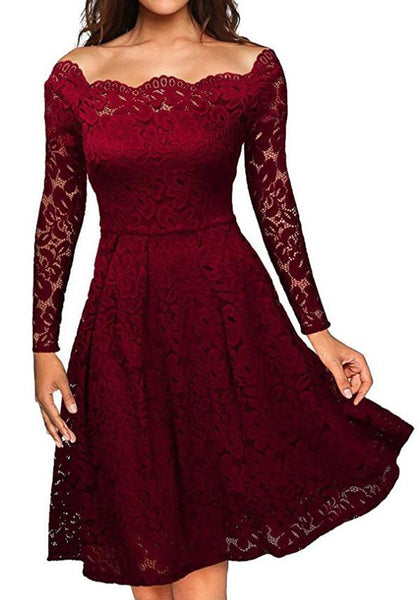 Burgundy Plain Lace Pleated Hollow-out Boat Neck Off-Shoulder Elegant Formal Midi Dress