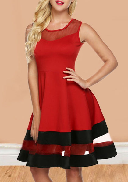 Red-Black Patchwork Grenadine High Waisted Skater Tutu Valentine's Day Homecoming Party Midi Dress