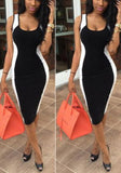 Black Patchwork Square Neck Sleeveless Fashion Midi Dress