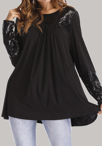 Black Patchwork Sequin Pleated Plus Size Long Sleeve Loose Casual T-Shirt