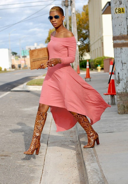 Pink Irregular Off Shoulder Backless High-low Long Sleeve Boho Party Maxi Dress